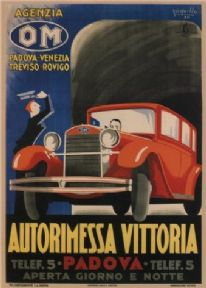 Vintage Italian car advertisement poster - Autorimessa Vittoria